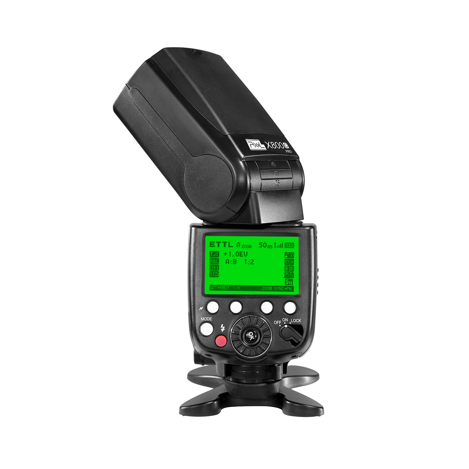 Pixel X800C Standard Speedlite for Canon, high speed synchronization and powerful performance.
