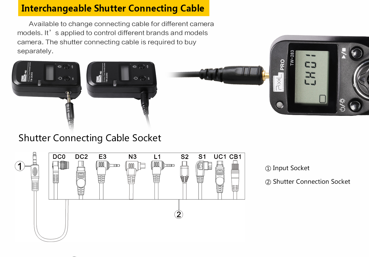 Interchangeable Shutter Connecting Cable