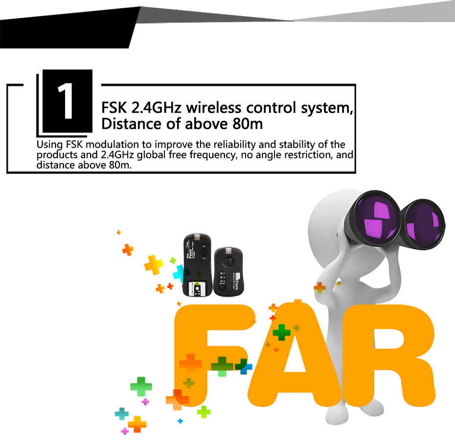 FDK 2.4GHz wireless control system, Distance of above 80m
