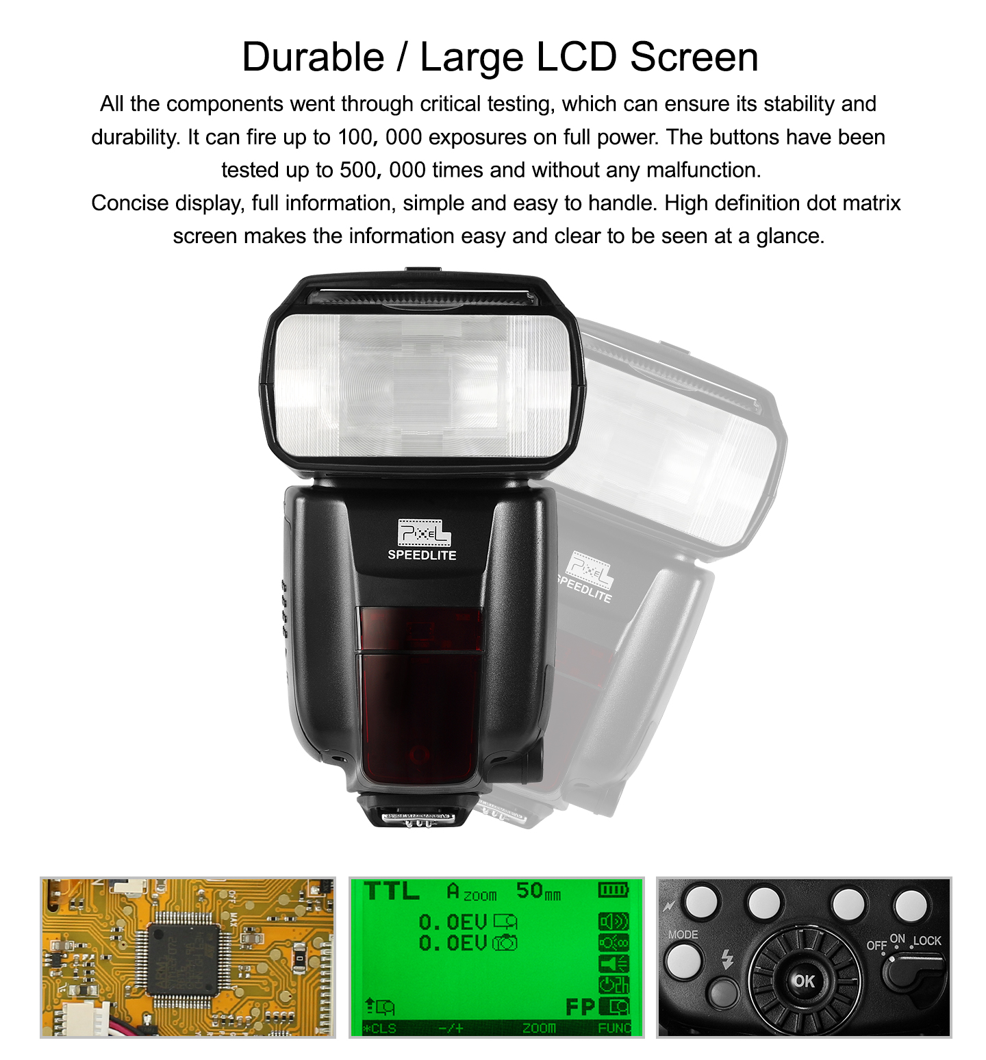 Durable/Large LCD Screen